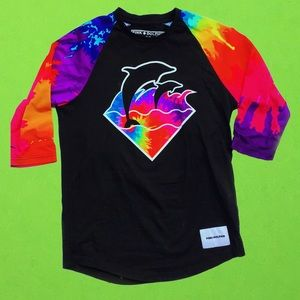 Pink dolphin multi color tie die baseball t shirt